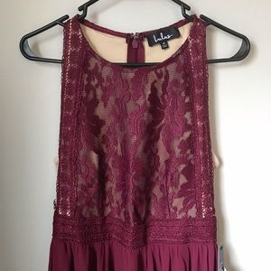 Lulus Forever & Always Burgundy Lace Maxi Dress